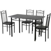 Vigor FUR 102B ebédlőasztal 4 db kárpitozott puha székkel étkezőgarnitúra fekete