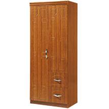 Vigor FUR 204 klasszikus stílusú masszív szerkezetű zárható akasztós kétajtós szekrény 2 fiókkal barna
