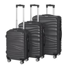 VIGOR Traveling 3, 3 db-os, ABS, guruló, fekete bőrönd szett (55cm+65cm+75cm)