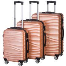 VIGOR Traveling 3, 3 db-os, ABS, guruló, aranyvörös bőrönd szett (55cm+65cm+75cm)