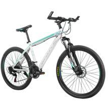 """MAKE RACER-X B069 alumínium váz teleszkóp tárcsafék 21 sebesség 26""""-os kerekek 17"""" váz MTB kerékpár fehér"""