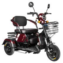 Vigor EB10 elektromos háromkerekű robogó tricikli bordó 12Ah