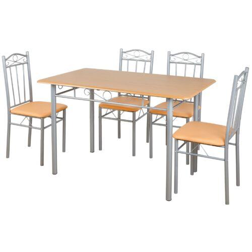 Vigor FUR 102 ebédlőasztal 4 db kárpitozott puha székkel étkezőgarnitúra bézs barna