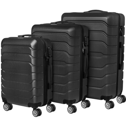 VIGOR Traveling 9 3 db-os, ABS, guruló, fekete bőrönd szett (55cm+65cm+75cm)
