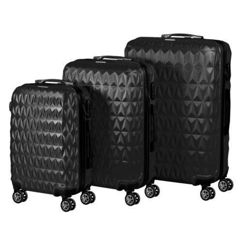 VIGOR Traveling 6, 3 db-os, ABS, guruló, fekete bőrönd szett (55cm+65cm+75cm)