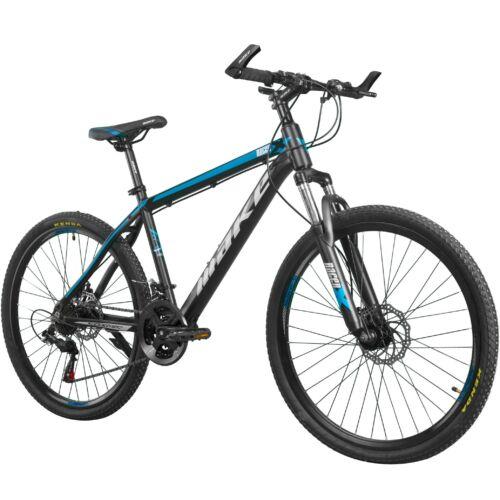 """MAKE RACER-X B069 alumínium váz teleszkóp tárcsafék 21 sebesség 26""""-os kerekek 17"""" váz MTB kerékpár fekete-kék"""